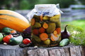 Organic pickles jar of with veggies Stock Photos