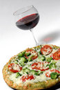 Organic pizza wine Stock Photography