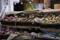 Organic potatoes in market Royalty Free Stock Photo