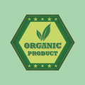 Organic product and leaf sign retro green label style hexagon with text symbol stars business eco bio concept Royalty Free Stock Photo