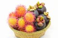 Organic rambutan and mangosteen thai fruits in wicker basket fresh Stock Photography