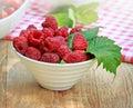 Organic raspberry fresh in a bowl Royalty Free Stock Photos