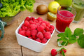 Organic raspberry smoothie of raspberry and green smoothie juice Stock Photography