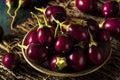 Organic Raw Baby Indian Eggplants Royalty Free Stock Photo