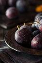 Organic Ripe Purple Prune Plums Royalty Free Stock Photo