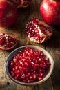 Organic ripe red pomegranates ready to eat Stock Photo