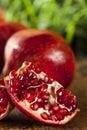 Organic ripe red pomegranates ready to eat Royalty Free Stock Photos