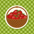 Organic ripe strawberries in wicker basket vector illustration Royalty Free Stock Image