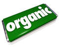 Organic snack candy bar natural healthy food choice word on a green or wrapper to advertise a that is a to buy and eat Royalty Free Stock Image