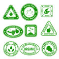 Organic stamps set of on and natural food in green color Stock Photo