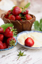 Organic strawberries with cream Royalty Free Stock Photo