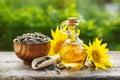 Organic sunflower oil Royalty Free Stock Photo