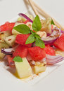 Organic Watermelon, cucumber and red onion salad- paleo diet Royalty Free Stock Photo
