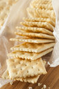 Organic whole wheat soda crackers ready to eat Royalty Free Stock Images