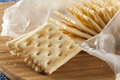 Organic whole wheat soda crackers ready to eat Stock Images