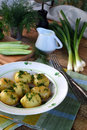 Organically grown new potatoes with butter and dill on wooden background. First spring harvest