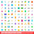 100 organisation icons set, cartoon style