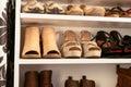 Organised wardrobe, the shoe storage Royalty Free Stock Photo