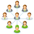 Organization chart teamwork flow network of people spider diagram vector illustration Royalty Free Stock Photo