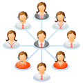 Organization chart teamwork flow network of people spider diagram vector illustration Stock Photo