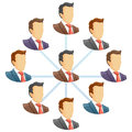 Organization chart teamwork flow network of people spider diagram vector illustration Stock Photography