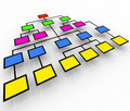 Organizational Chart - Colorful Boxes Stock Photo