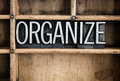 Organize Concept Metal Letterpress Word in Drawer Royalty Free Stock Photo