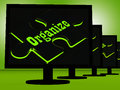Organize on monitors showing managing and structuring Stock Images