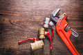 Organized copyspace two plumbers fixtures and Royalty Free Stock Photo