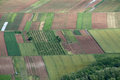 Organized fields nicely of farmers in slovenia Stock Photos