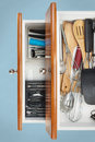 Organized Kitchen Drawers Stock Photo