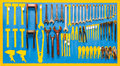 Organized tools on wall for mantainance Stock Images