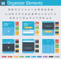 Organizer elements set of the simple personal interface icons and Royalty Free Stock Image