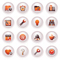 Organizer icons. Black red series. Stock Photo