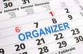 Organizer noted on a calendar Royalty Free Stock Photography
