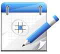 Organizer with pencil set of calender icon Royalty Free Stock Photography