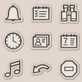 Organizer web icons, brown contour sticker series Stock Photos