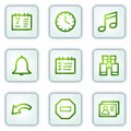 Organizer web icons, white square buttons Royalty Free Stock Image