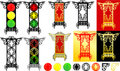 Orienta lanterns and traffic light Stock Photos