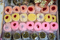 Oriental arabic sweets wide selection of in the market Stock Photo