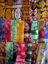 Oriental bazaar objects - silk kerchiefs Royalty Free Stock Photo