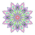Oriental beautiful female ornament color card with mandala with white lines. Vintage decorative elements. Hand drawn