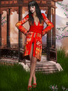 Oriental beauty with kimono Royalty Free Stock Photo
