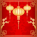 Oriental chinese lantern illustration cherry blossom background Royalty Free Stock Photos