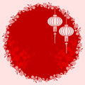 Oriental chinese lantern illustration cherry blossom background Stock Photo