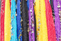 Oriental cloths colorful with metal coins and beads used for belly dancing Royalty Free Stock Images