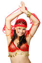 Oriental dancer in red dress Royalty Free Stock Images