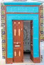 Oriental door a beautiful in sidi bou said Royalty Free Stock Images