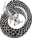 Oriental dragon circle legless black and white vector illustration Royalty Free Stock Images