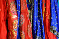 Oriental fabric red and blue patterned Stock Photo